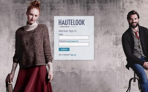 Screenshot of Login Page hautelook.com - HauteLook - captured Oct. 29, 2014