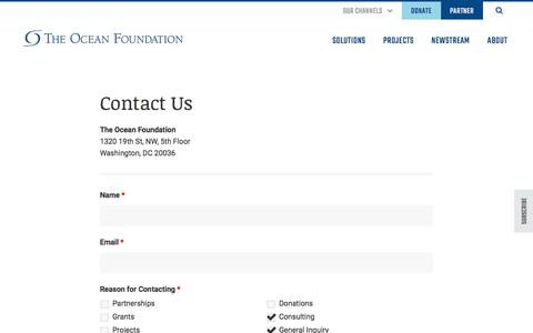 Screenshot of Contact Page oceanfdn.org - Contact Us - The Ocean Foundation - captured Oct. 19, 2019