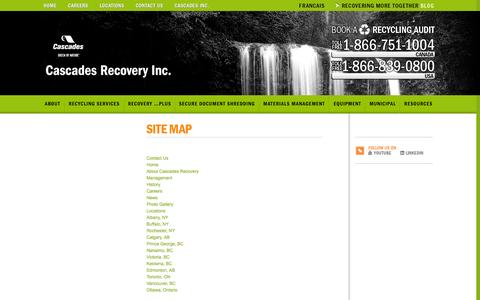 Screenshot of Site Map Page recoverycascades.com - Sitemap | Cascades Recovery Inc - captured Oct. 9, 2014