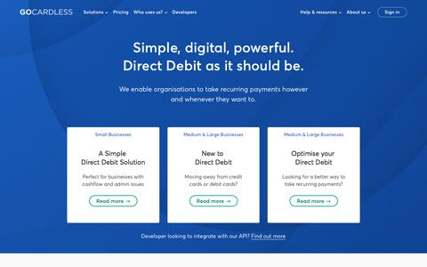 Screenshot of Home Page gocardless.com - The easiest way to collect recurring payments - GoCardless - captured July 16, 2018