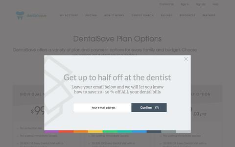 Screenshot of Pricing Page dentalsave.com - Best Discount Dental Plans - Discount Dental Plan Options & Pricing - captured Nov. 6, 2018