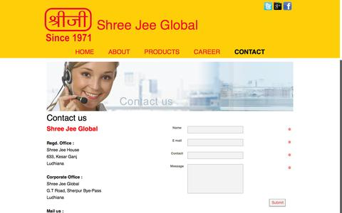 Screenshot of Contact Page shreejeeglobal.in - CONTACT - captured Oct. 7, 2014