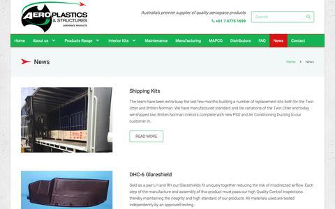 Screenshot of Press Page aeroplastics.com.au - News - Aeroplastics, Australia, Aerospace Products - captured Oct. 3, 2018