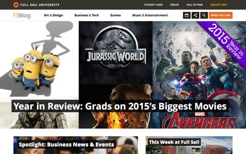 Screenshot of Home Page Blog fullsailblog.com - Full Sail University Blog - captured Jan. 5, 2016