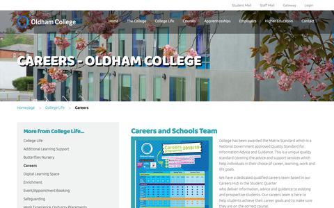 Screenshot of Jobs Page oldham.ac.uk - Careers - Oldham College - Oldham College - captured Nov. 15, 2018