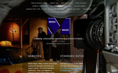 Screenshot of Services Page mediamagic.tv - Media Magic Services — Media Magic Video Production Services - captured May 27, 2017