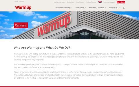 Screenshot of Jobs Page warmup.co.uk - Careers | Warmup - captured Nov. 15, 2019