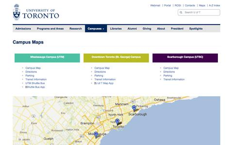 Screenshot of Maps & Directions Page utoronto.ca - Campus Maps | University of Toronto - captured Oct. 25, 2014
