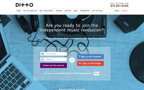 Screenshot of Signup Page dittomusic.com - Create a Ditto Music Account | Sign Up - captured Aug. 26, 2016