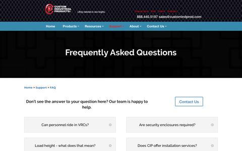 Screenshot of FAQ Page customindprod.com - Materials Lift FAQ | Materials-Handling Solutions | CIP - captured Jan. 26, 2020
