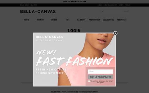 Screenshot of Login Page bellacanvas.com - Login   Bella Canvas - captured Nov. 13, 2018