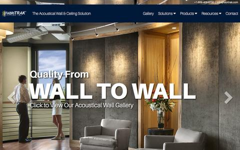 Screenshot of Home Page fabritrak.com - The Acoustical Wall & Ceiling Solution | FabriTRAK® - captured Jan. 23, 2015