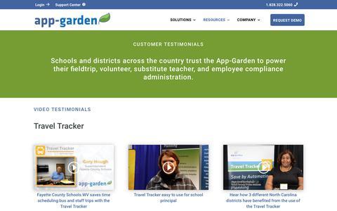 Screenshot of Testimonials Page app-garden.com - Testimonials - App-Garden - captured July 30, 2018