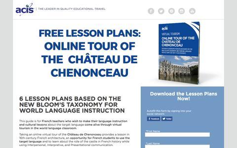 Screenshot of Landing Page acis.com - Online Tour of The Château de Chenonceau Lesson Plans - captured March 13, 2017