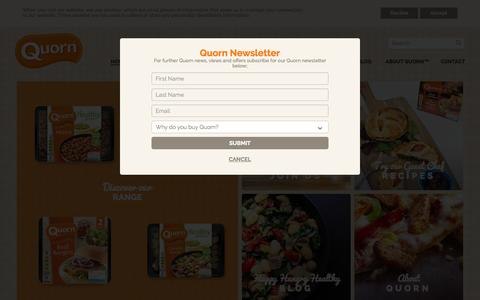 Screenshot of Home Page quorn.co.uk - Recipes, Products and News from Quorn – A Healthy Protein - captured Oct. 7, 2015