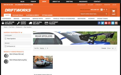 Screenshot of driftworks.com - Rear Spoilers by Driftworks.com, the Rear Spoilers experts. - captured March 19, 2016