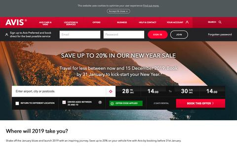 Screenshot of Terms Page avis.co.uk - Save up to 20% in the Avis New Year Sale - captured Dec. 27, 2018