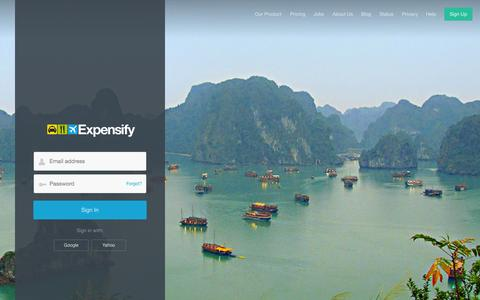 Screenshot of Login Page expensify.com - Expensify - Sign In - captured Oct. 28, 2014