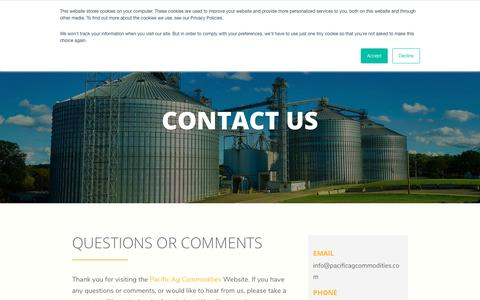 Screenshot of Contact Page pacificagcommodities.com - Contact Us   Pacific AG Commodities - captured Sept. 26, 2018