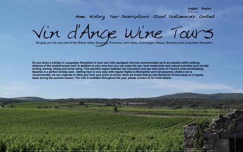 Screenshot of Home Page vindangewinetours.com - Vin d'Ange Wine Tours Rhône Valley, Provence and Languedoc Wine Tour France - captured Sept. 30, 2014