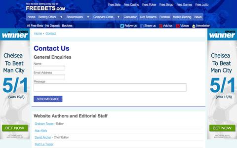 Screenshot of Contact Page freebets.com - The best betting every day | Freebets.com - captured Sept. 23, 2014