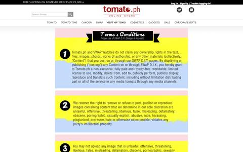 Screenshot of Terms Page tomato.ph - SWAP DIY Terms - captured Sept. 24, 2014