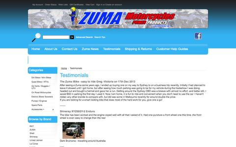 Screenshot of Testimonials Page zuma.com.au - Testimonials - captured Oct. 26, 2014