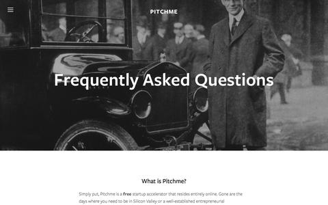 Screenshot of FAQ Page pitchme.io - FAQ — Pitchme - captured Jan. 27, 2016