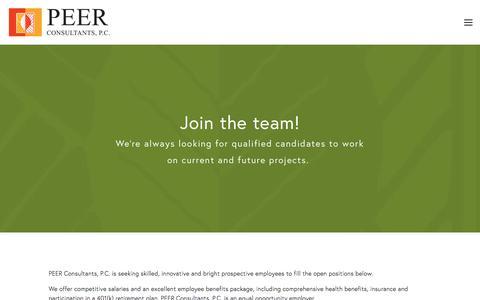 Screenshot of Jobs Page peercpc.com - Careers — PEER Consultants, P.C. - captured Sept. 25, 2018