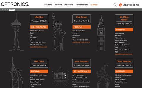 Screenshot of Contact Page optronicsnet.com - Contact -  Optronics - captured Oct. 18, 2018