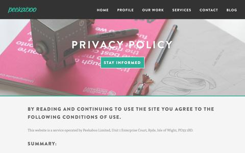 Screenshot of Privacy Page peekaboodesign.co.uk - Privacy Policy - Peekaboo Design Agency - captured Sept. 27, 2018