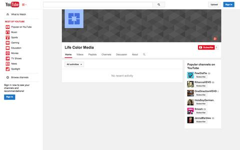 Screenshot of YouTube Page youtube.com - Life Color Media  - YouTube - captured Oct. 28, 2014