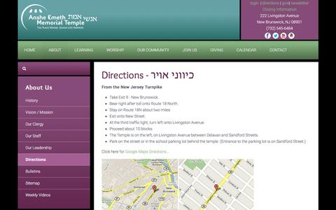 Screenshot of Maps & Directions Page aemt.net - Anshe Emeth Memorial Temple - Directions - captured Nov. 21, 2016