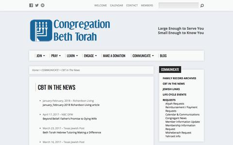 Screenshot of Press Page congregationbethtorah.org - CBT In The News - Congregation Beth Torah - captured July 20, 2018