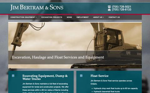 Screenshot of Home Page jimbertramandsons.com - Excavation and Float Service in Barrie, Ontario | Jim Bertram & Sons - captured Oct. 13, 2018