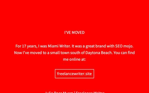 Screenshot of Home Page miamiwriter.com - Miami Writer - Freelance Copywriter - captured Nov. 6, 2018