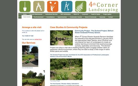 Screenshot of Case Studies Page 4thcorner.co.uk - Case Studies for Landscaping, Grounds Maintenance and New Planting Schemes - captured Feb. 23, 2016