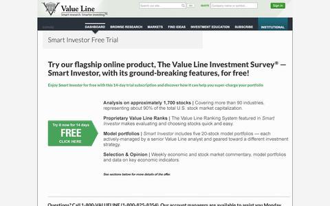 Screenshot of Trial Page valueline.com - Smart Investor Free Trial - captured Oct. 19, 2018