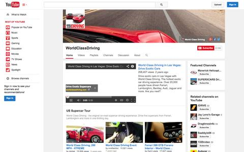 Screenshot of YouTube Page youtube.com - WorldClassDriving  - YouTube - captured Oct. 26, 2014