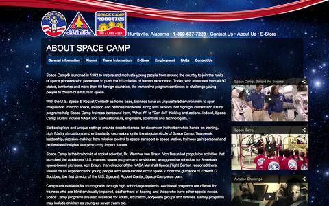Screenshot of About Page spacecamp.com - About Space Camp | www.spacecamp.com - captured Oct. 22, 2015