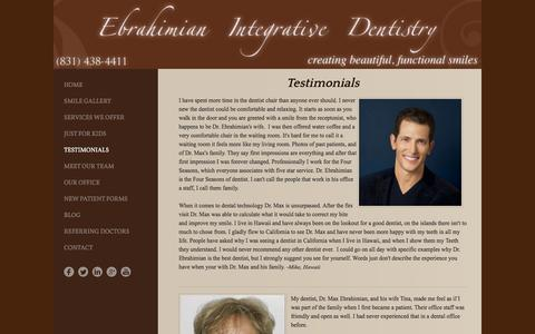 Screenshot of Testimonials Page functionalsmiles.com - Testimonials - Ebrahimian Integrative Dentistry - captured Jan. 25, 2016