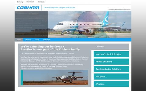 Screenshot of Home Page aeroflex.com - Aeroflex, a Cobham Company - Cobham AvComm - captured Oct. 20, 2015