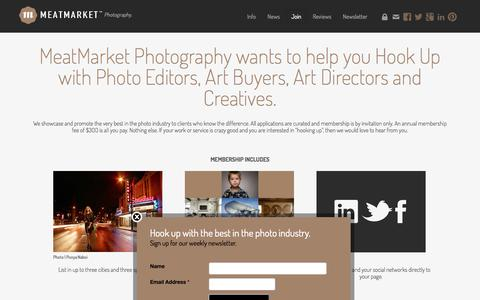 Screenshot of Signup Page meatmarketphoto.com - Join the exclusive MeatMarket™ photography portfolios - captured Oct. 27, 2014