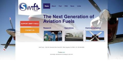 Screenshot of Home Page swiftfuels.com - Home - The Next Generation of Aviation Fuels | Swift Fuels - captured Oct. 9, 2014