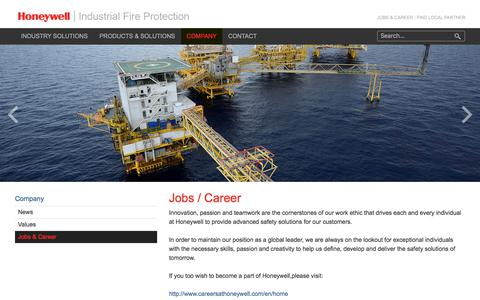 Screenshot of Jobs Page honeywell.com - Jobs & Career: Honeywell | Industrial Fire Protection - captured Aug. 1, 2017