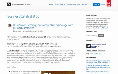 Screenshot of Blog businesscatalyst.com - Business Catalyst Blog - captured Sept. 17, 2014