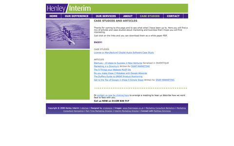 Screenshot of Case Studies Page henleyinterim.com - Case Studies, Business Advice and Marketing Articles - Henley Interim - captured Dec. 9, 2015
