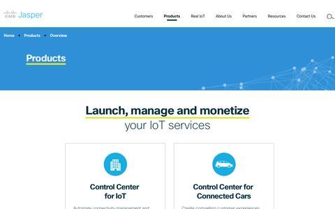 Screenshot of Products Page jasper.com - IoT Connectivity management products | Cisco Jasper - captured Feb. 4, 2017
