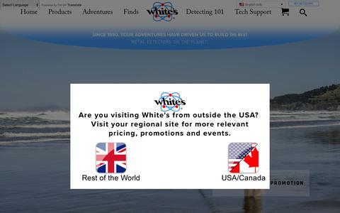 Screenshot of Home Page whiteselectronics.com - Whites Electronics | American-Made Metal Detectors Since 1950 - captured June 10, 2018
