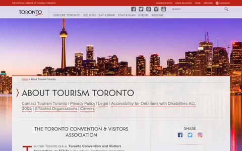 Screenshot of About Page seetorontonow.com - About Tourism Toronto | Tourism Toronto - captured Sept. 23, 2018